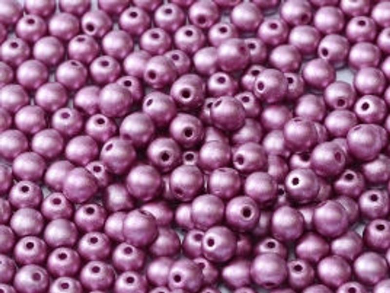 4mm Round Glass Beads, Lilac (Qty: 50)
