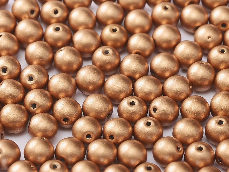 3mm Round Glass Beads, Metallic Copper (Qty: 50)
