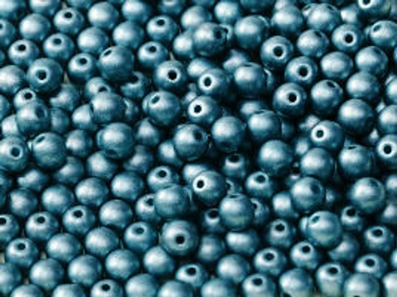 3mm Round Glass Beads, Sea Blue (Qty: 50)