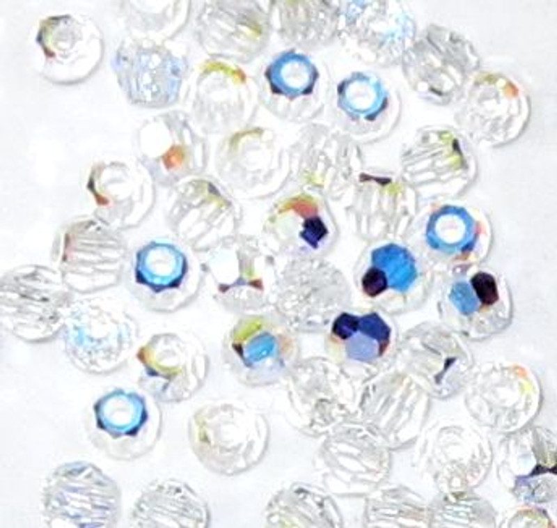 2mm Swarovski Rounds, Crystal AB (Qty: 50)