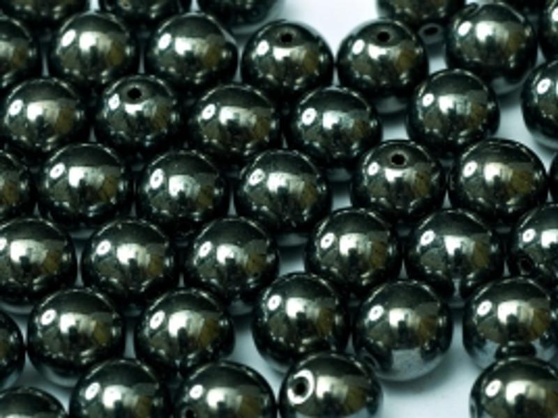 4mm Round Glass Beads, Hematite (Qty: 50)