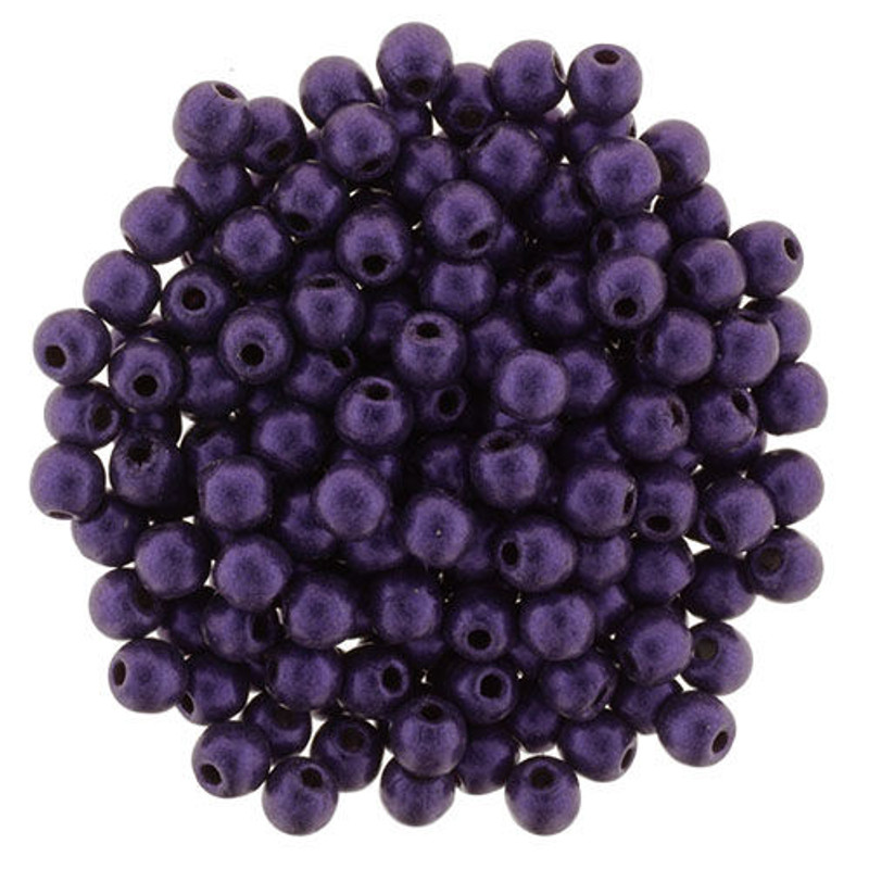 3mm Round Glass Beads, Purple Metallic Suede (Qty: 50)
