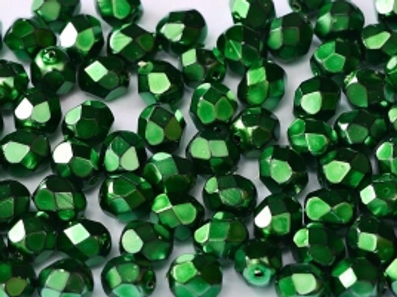 3mm Fire Polish, Heavy Metal Emerald (Qty: 50)