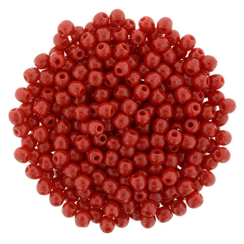 2mm Round Glass Beads, Opaque Red (Qty: 50)