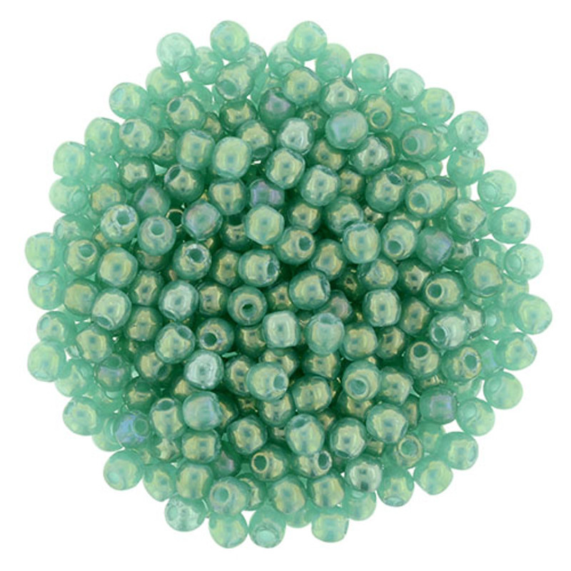 2mm Round Glass Beads, Atlantic Green Luster Iris (Qty: 50)