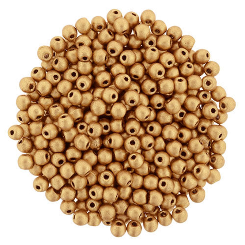 2mm Round Glass Beads, Matte Metallic Flax (Qty: 50)