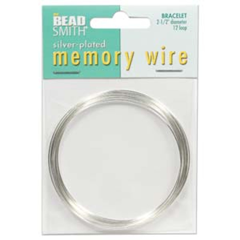 "Memory Wire - Round Bracelet - 2.5"" (Large) - Silver (12 loops)"