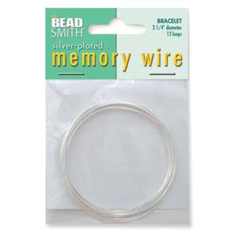 "Memory Wire - Round Bracelet - 2.25"" (Medium) - Silver (12 loops)"