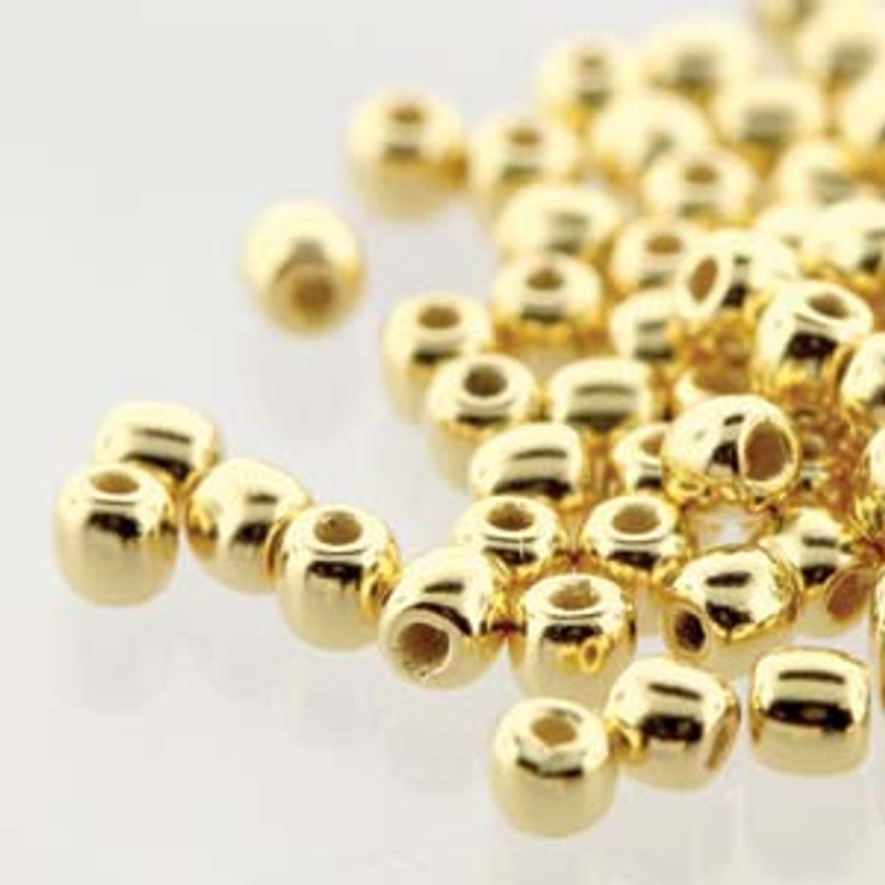 2mm Round Glass Beads, 24K Gold Plate (True 2) (Qty: 50)