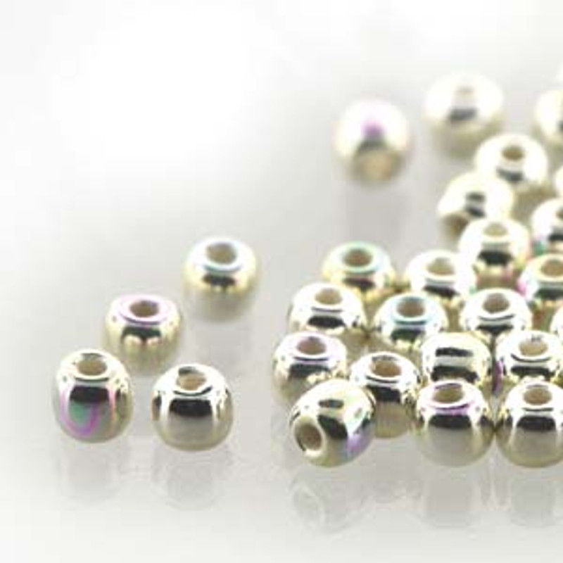 2mm Round Glass Beads, Silver-Plated AB (True 2) (Qty: 50)