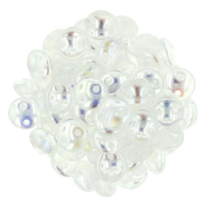 2-Hole Lentils, Crystal AB (Qty: 50)