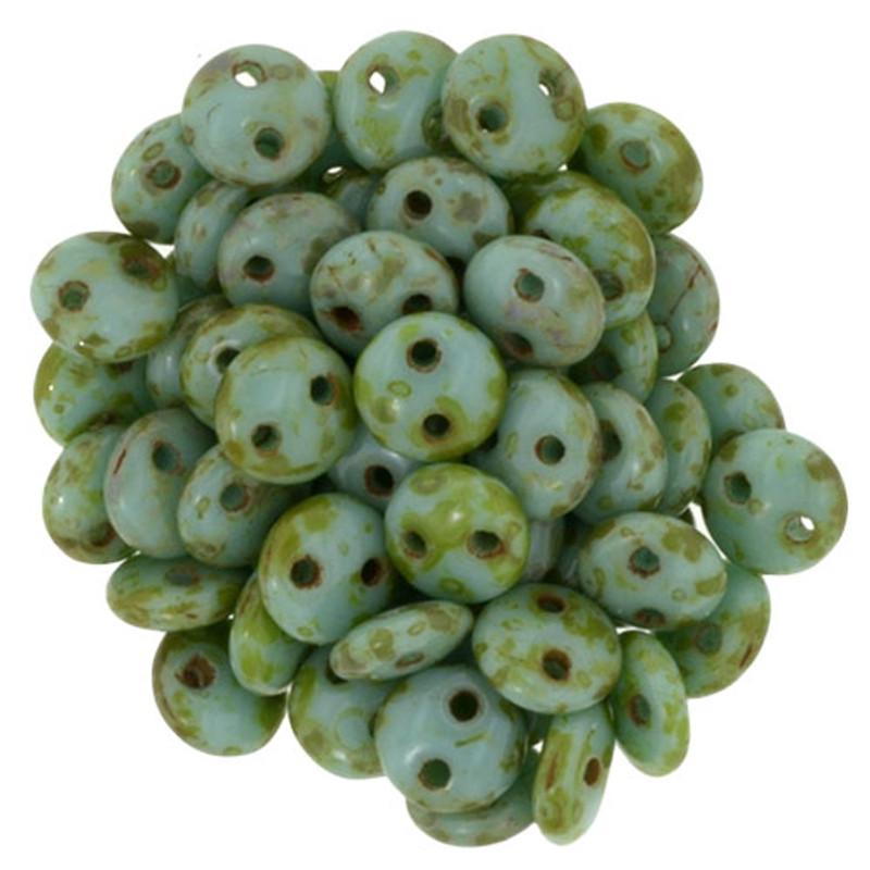 2-Hole Lentils, Turquoise Picasso (Qty: 50)