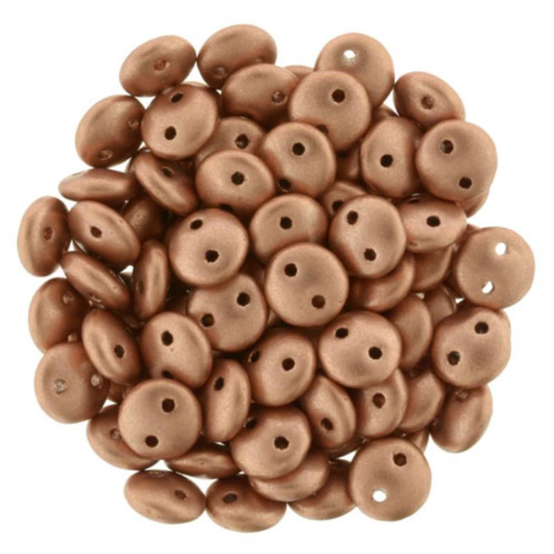 2-Hole Lentils, Matte Metallic Copper (Qty: 50)