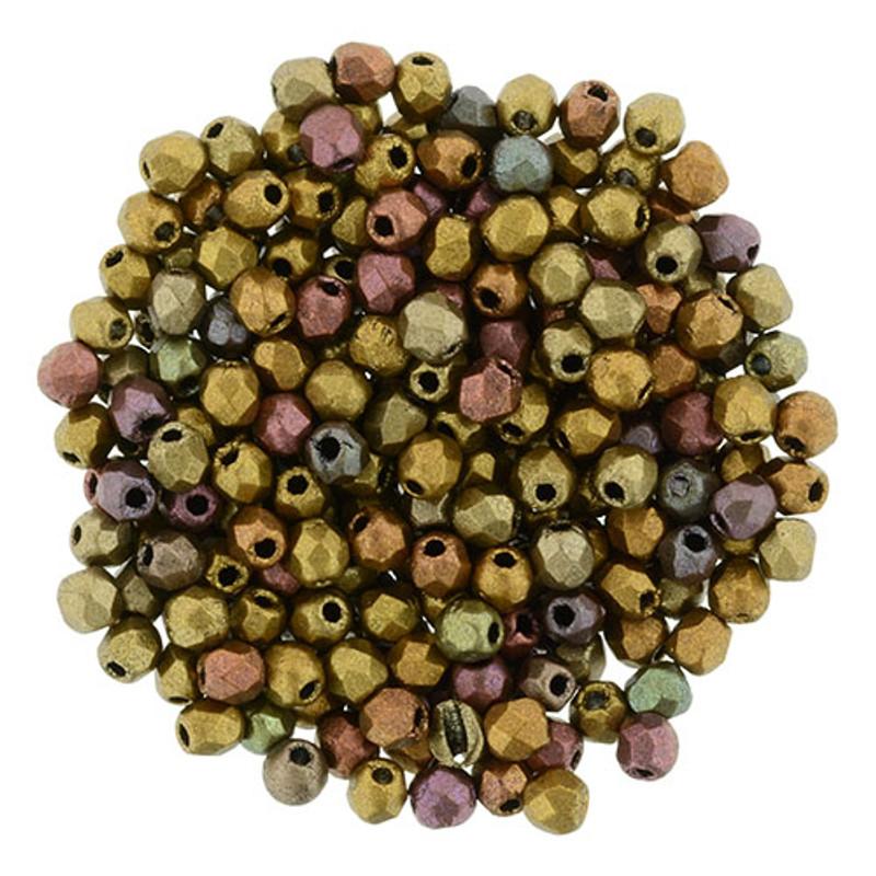 2mm Fire Polish, Matte Metallic Bronze Iris (Qty: 50)