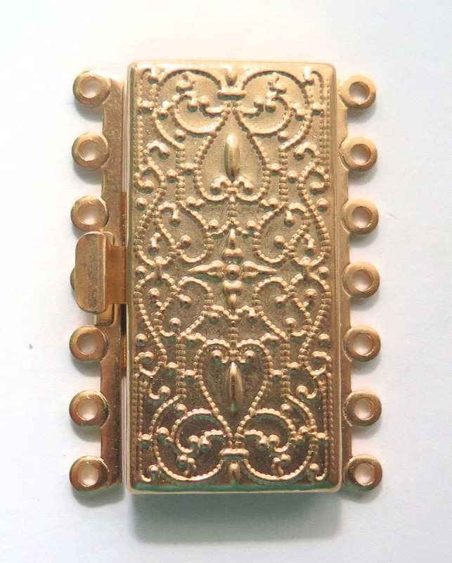 7 Strand Gold Plated Brass Box Clasp (C185)