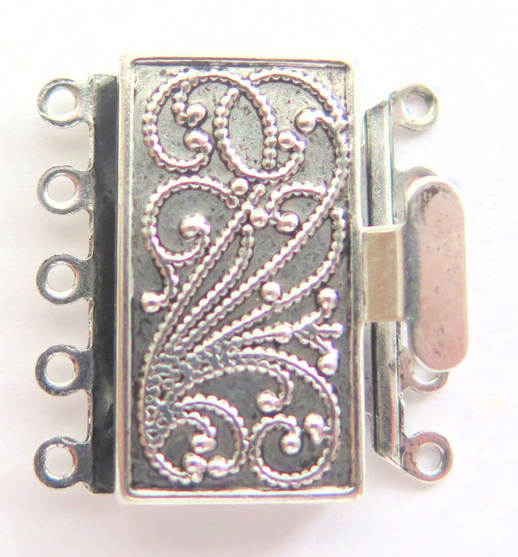 5 Strand Silver Plated Box Clasp (C192)