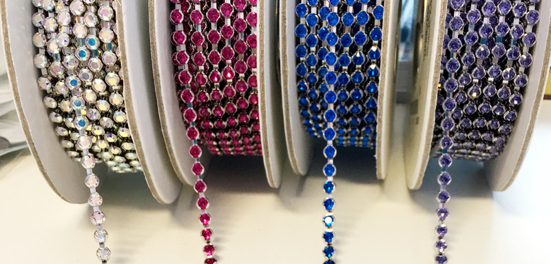 Swarovski Bezeled Cup Chain - PP32, Fuchsia (Qty: 1 in.)