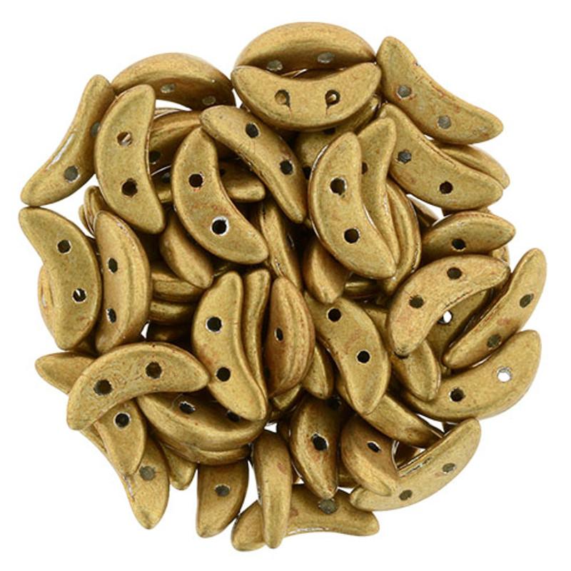 CzechMates Crescent Beads, Metallic Gold (10 gr.)
