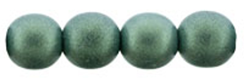 6mm Round Glass Beads, Light Green Metallic Suede (Qty: 25)
