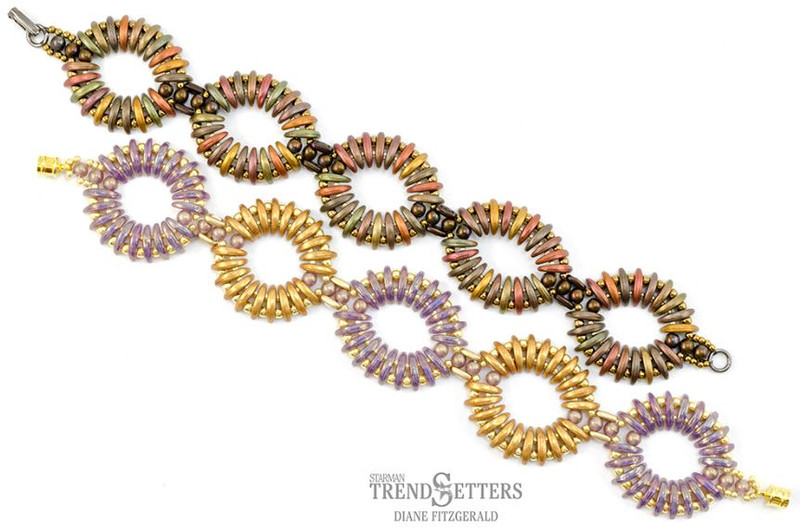 FREE Pattern with $15 Minimum Purchase: Rippling Ovals Bracelet with CzechMate 2-Hole Crescents & Bars