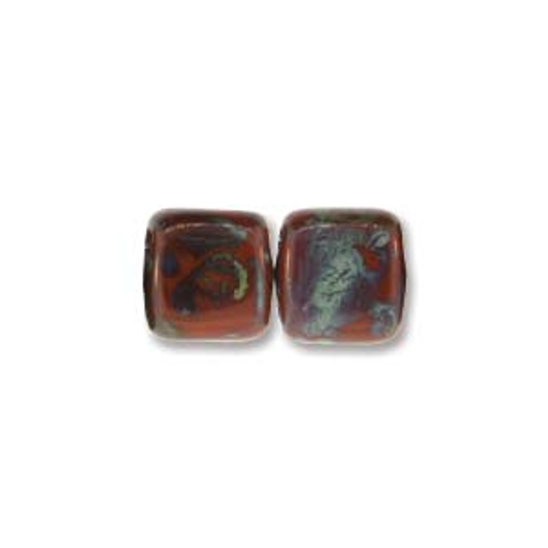 2-Hole CzechMates Tile Beads, Umber Picasso (Qty: 25)