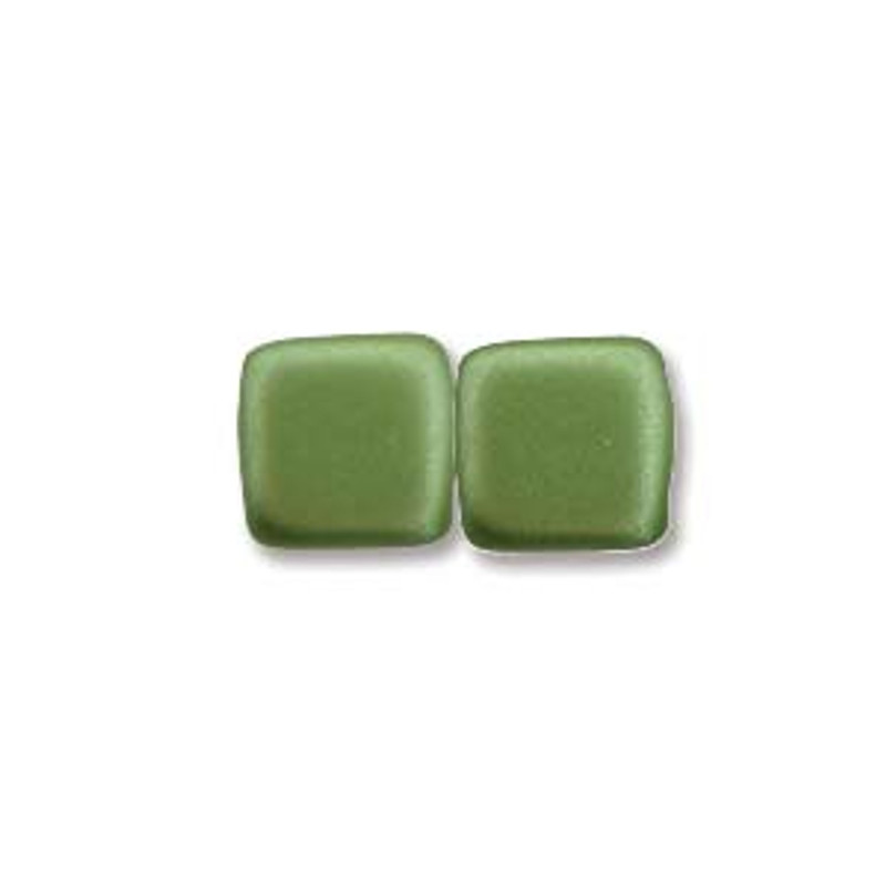 2-Hole CzechMates Tile Beads, Olive Green (Qty: 25)
