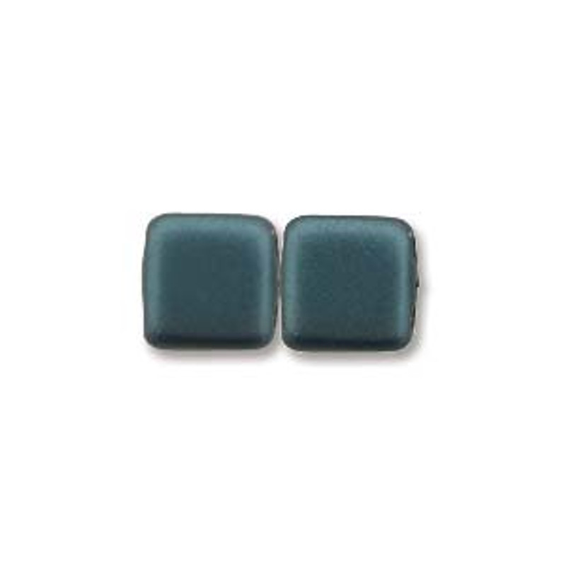 2-Hole CzechMates Tile Beads, Dark Turquoise (Qty: 25)
