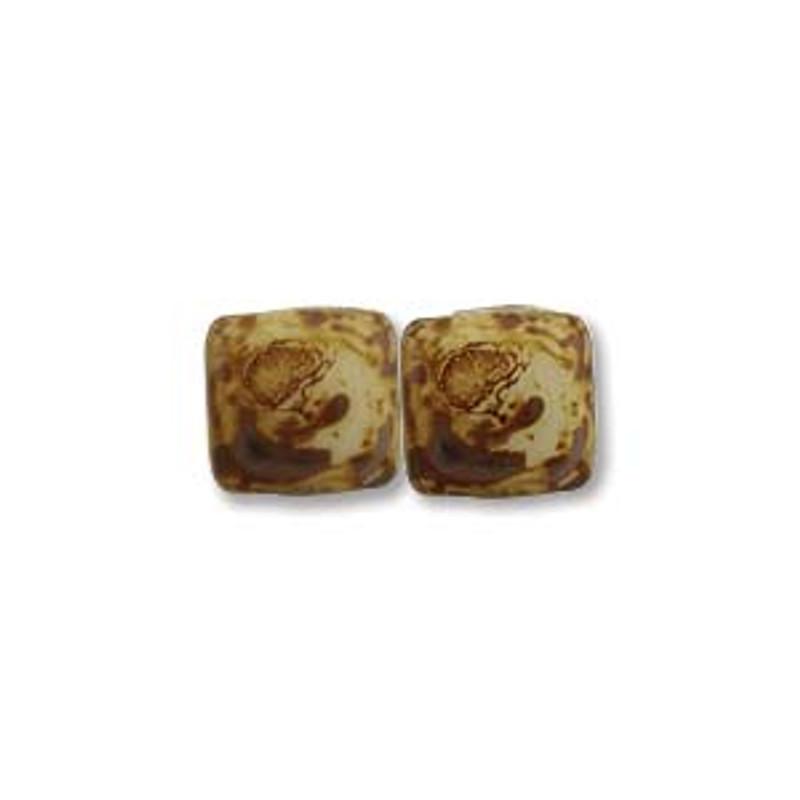 2-Hole CzechMates Tile Beads, Ivory Picasso (Qty: 25)