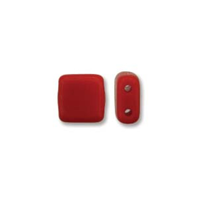 2-Hole CzechMates Tile Beads, Opaque Red Coral (Qty: 25)