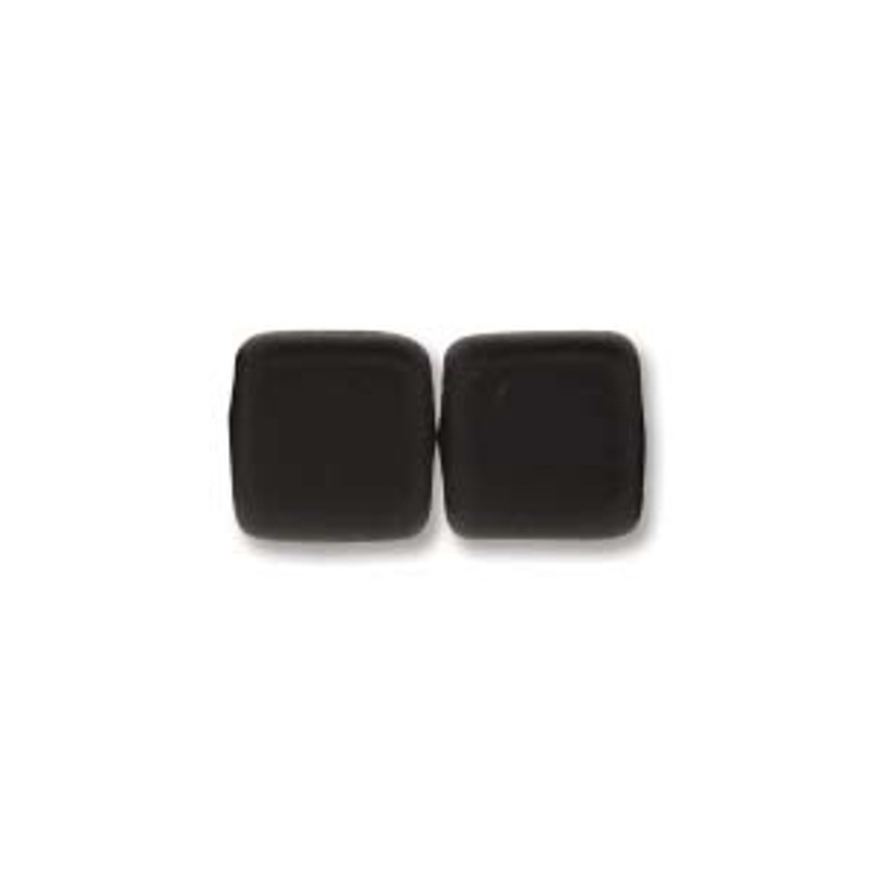 2-Hole CzechMates Tile Beads, Matte Jet (Qty: 25)