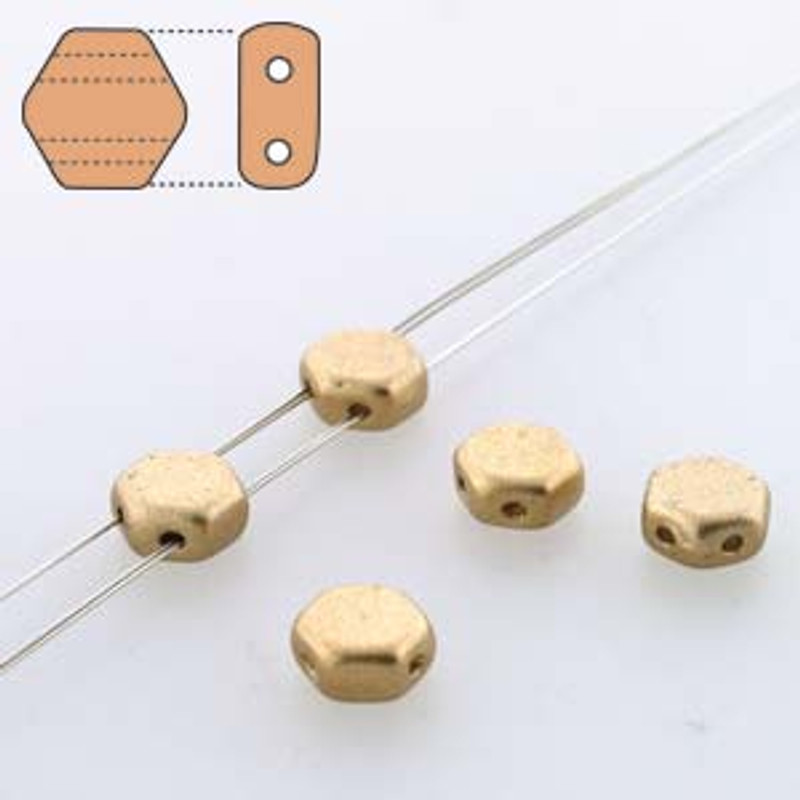2-Hole Honeycomb Beads, Aztec Gold (Qty: 30)