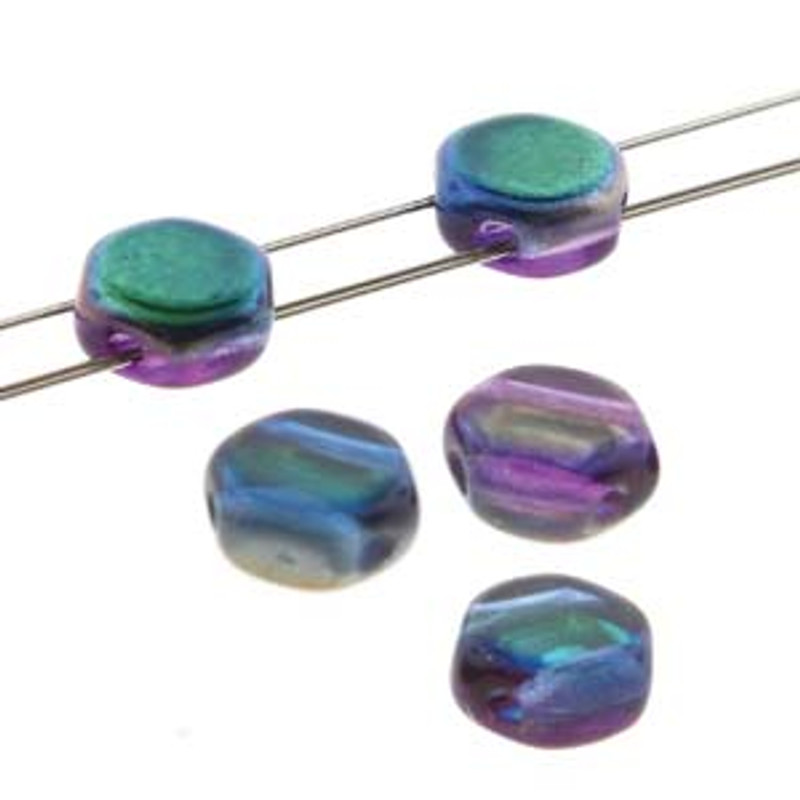 2-Hole Honeycomb Beads, Magic Blue-Pink (Qty: 30)