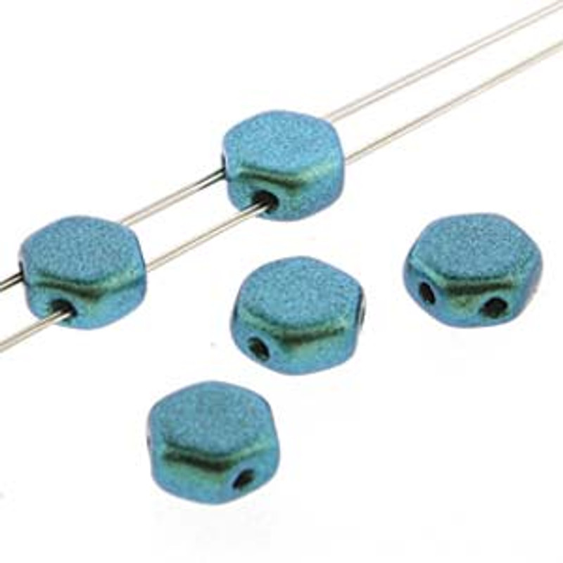 2-Hole Honeycomb Beads, Viridian (Qty: 30)