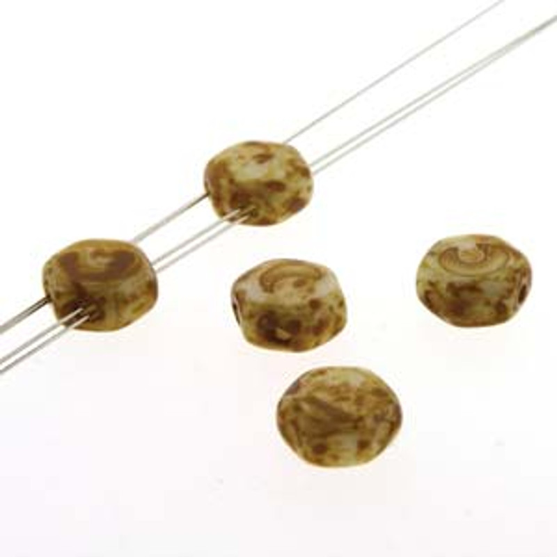 2-Hole Honeycomb Beads, Chalk Dark Travertine (Qty: 30)
