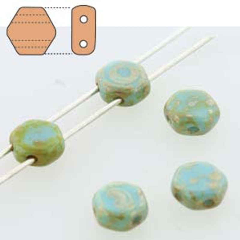 2-Hole Honeycomb Beads, Blue Turquoise Picasso (Qty: 30)