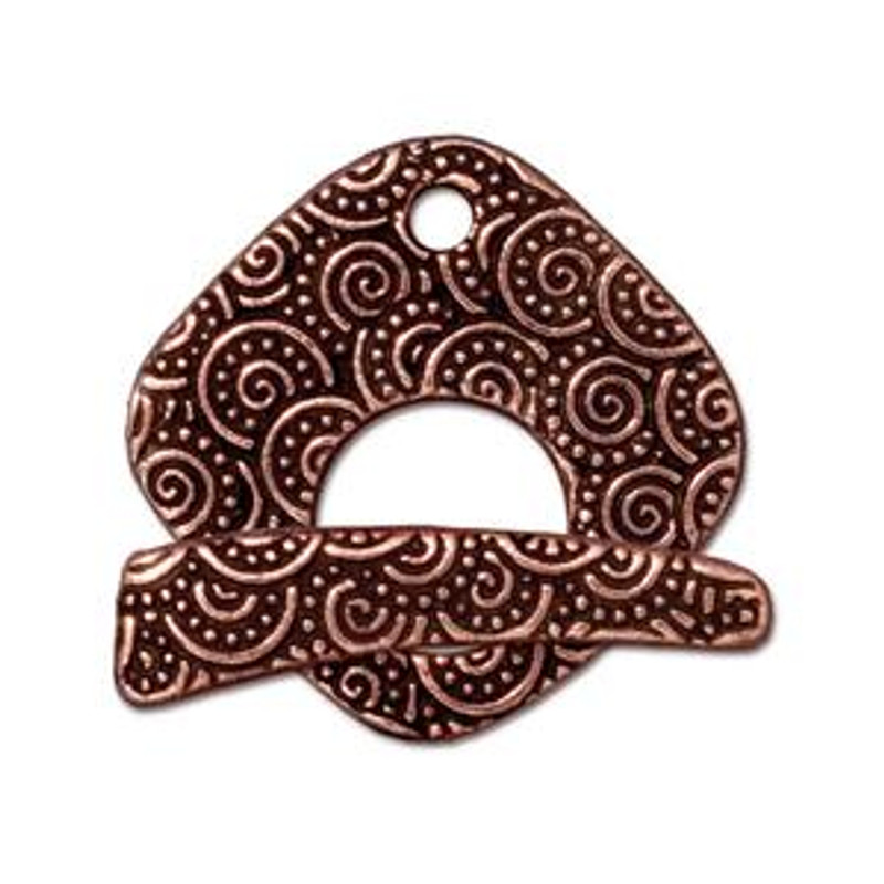 TierraCast Copper Plated Large Swirl Toggle Clasp (C021)