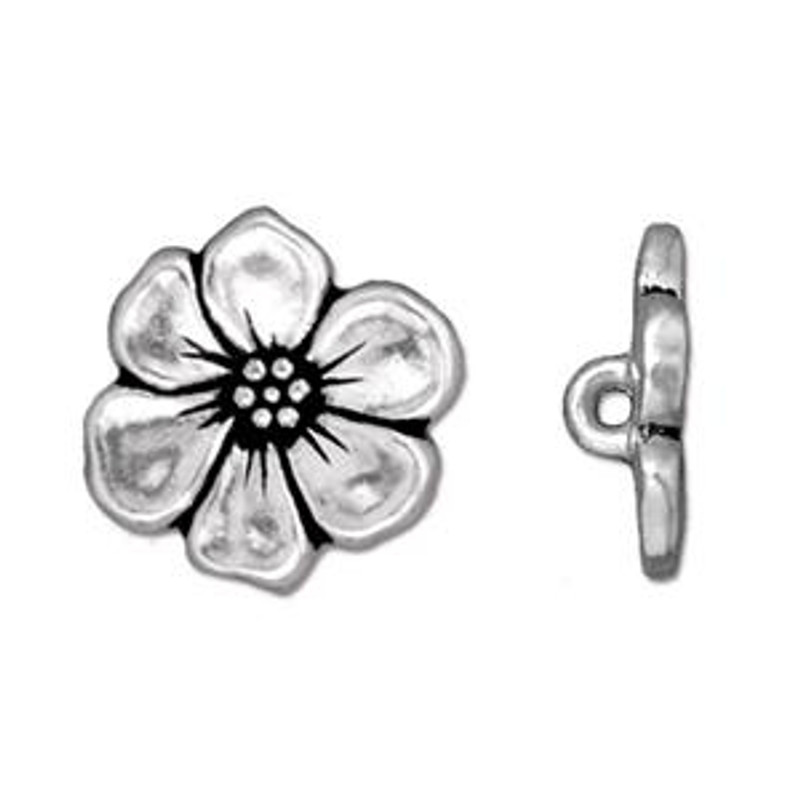 TierraCast Button - Apple Blossom, Antique Silver Plated (B-055)