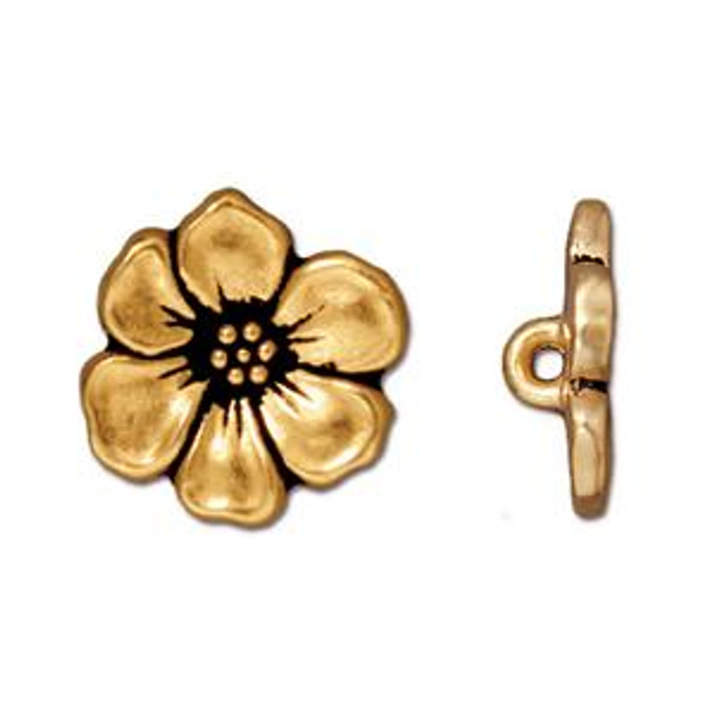 TierraCast Button - Apple Blossom, Antique Gold Plated (B-056)