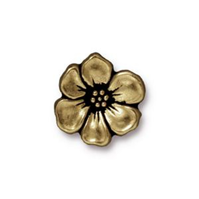 TierraCast Button - Apple Blossom, Antique Brass (B-057)