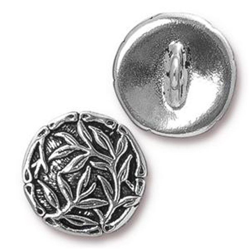 TierraCast Button - Bamboo, Antique Silver Plated (B-059)