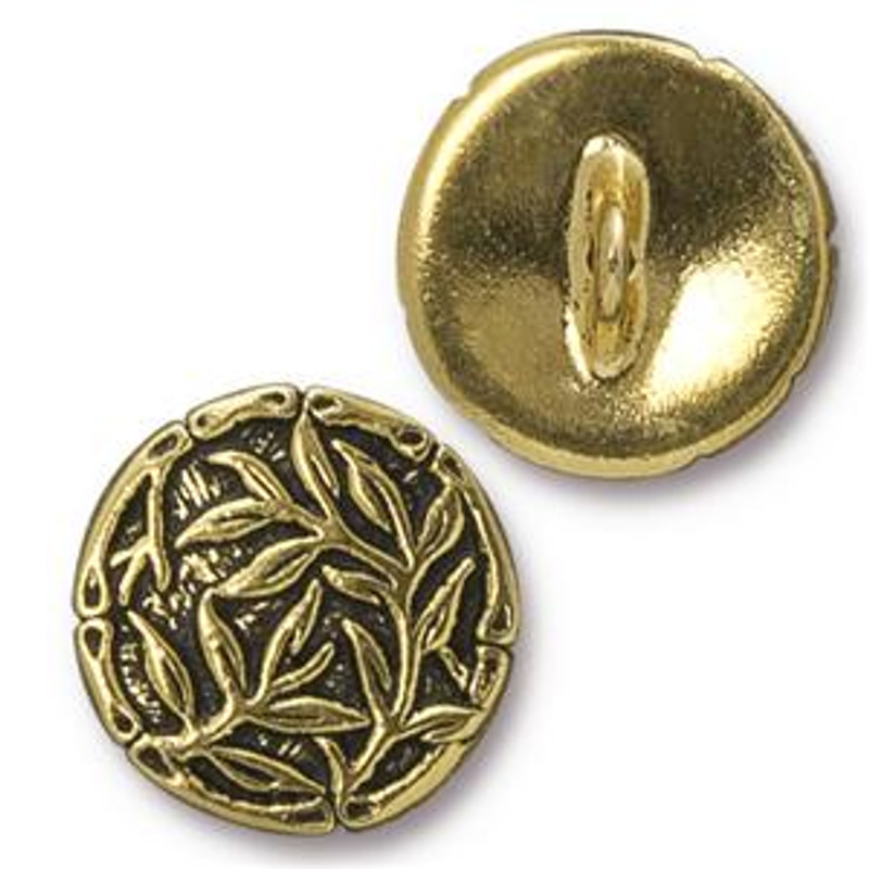 TierraCast Button - Bamboo, Antique Gold Plated (B-060)