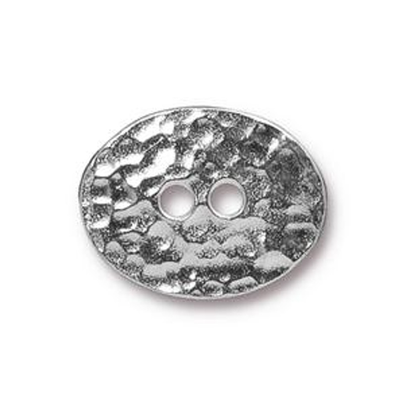 TierraCast Button - Distressed Oval, Rhodium Plated (B-062)