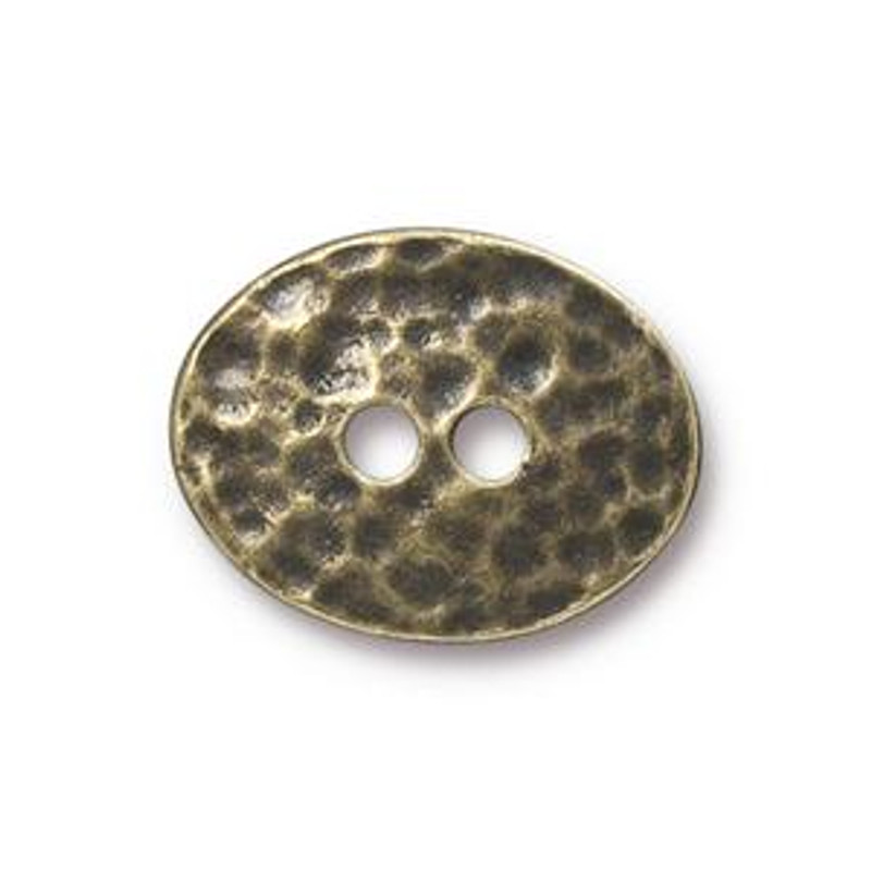 TierraCast Button - Distressed Oval, Antique Brass (B-064)