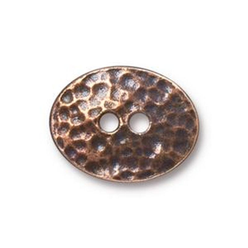 TierraCast Button - Distressed Oval, Antique Copper Plated (B-065)