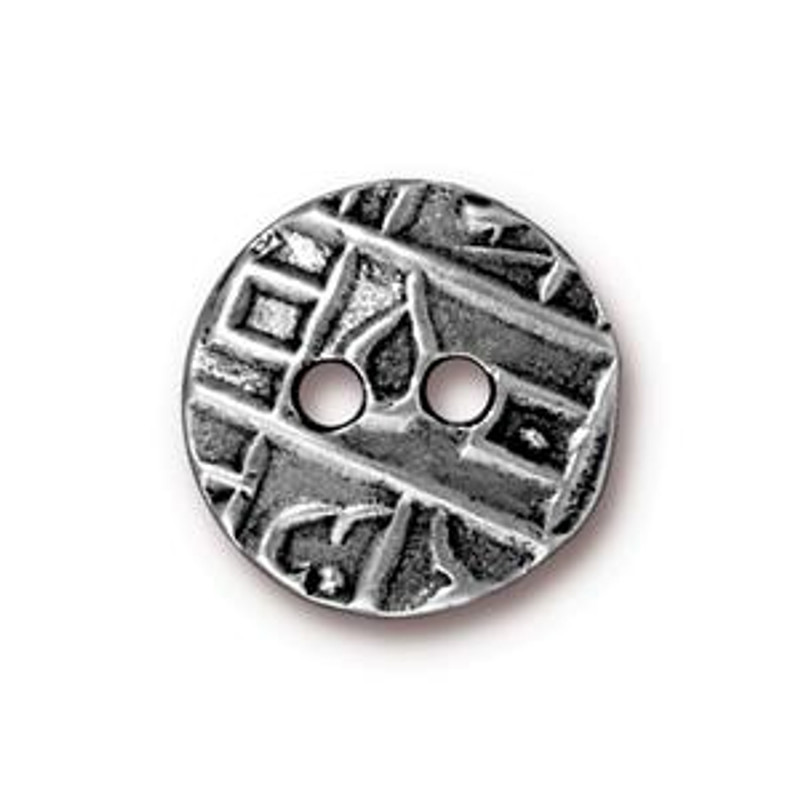 TierraCast Button - Round Coin, Antique Pewter (B-073)