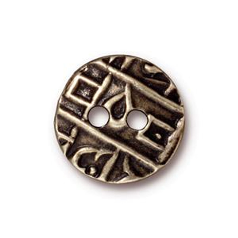 TierraCast Button - Round Coin, Antique Brass (B-074)