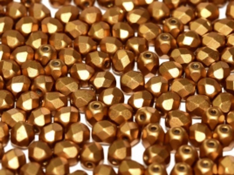 4mm Fire Polish, Metallic Brass (Qty: 50)