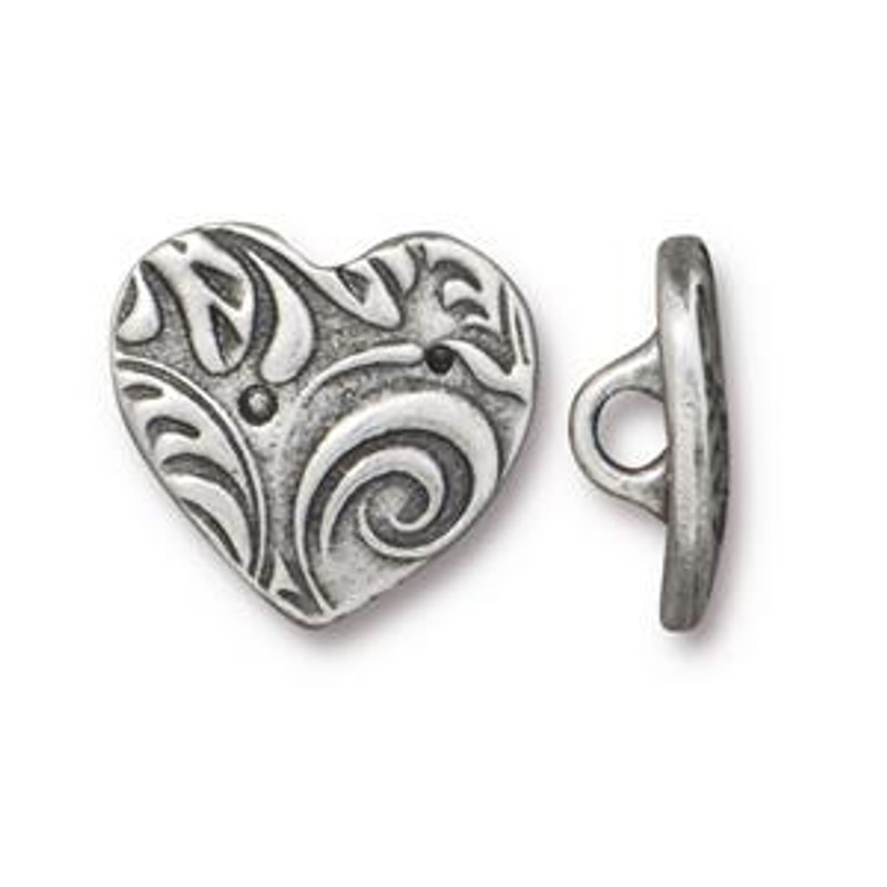 TierraCast Button - Heart, Antique Pewter (B-077)