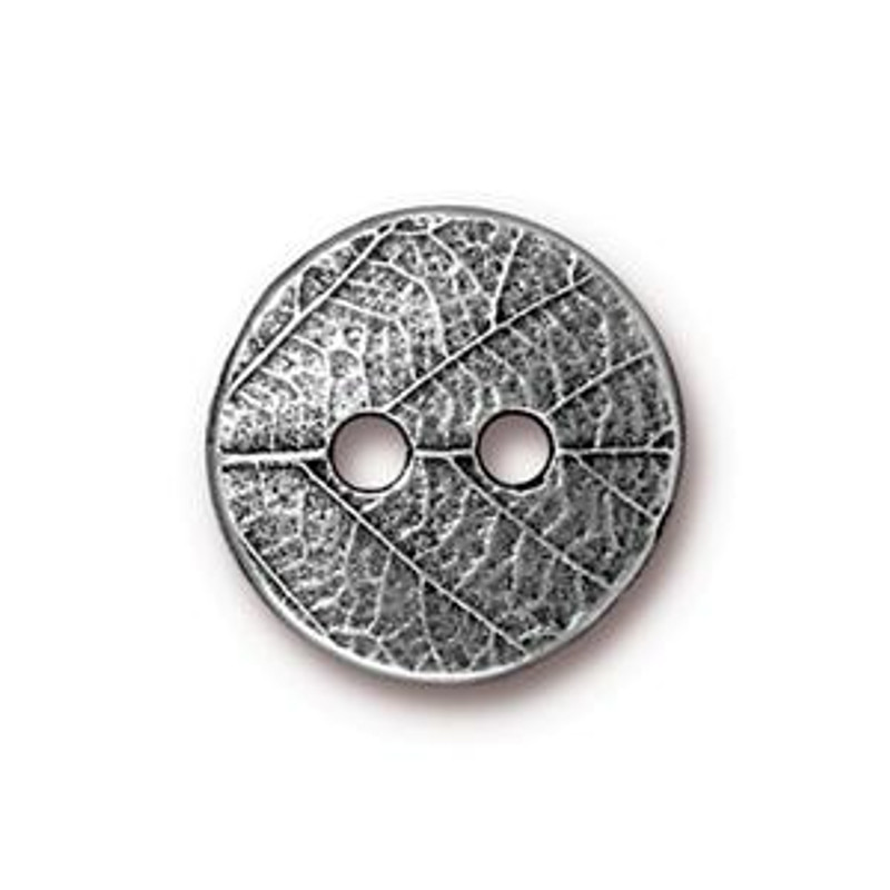 TierraCast Button - Round Leaf, Antique Pewter (B-078)