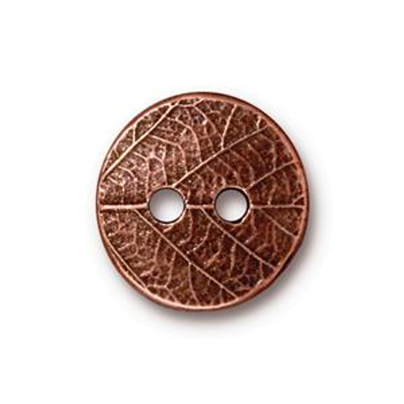TierraCast Button - Round Leaf, Antique Copper (B-079)